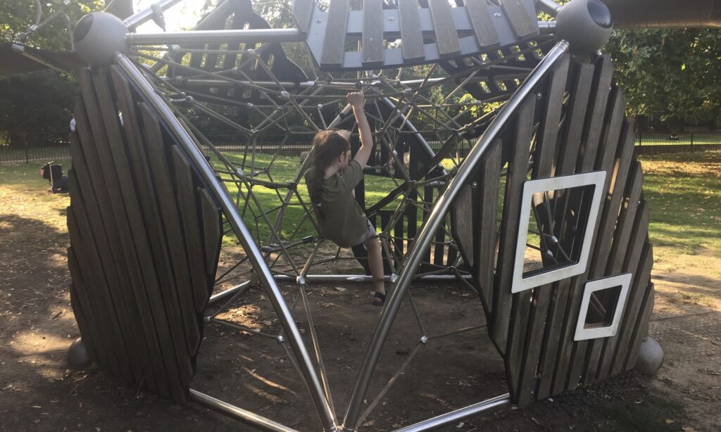 The climbing frame in the older children's playground at Oaklands Park