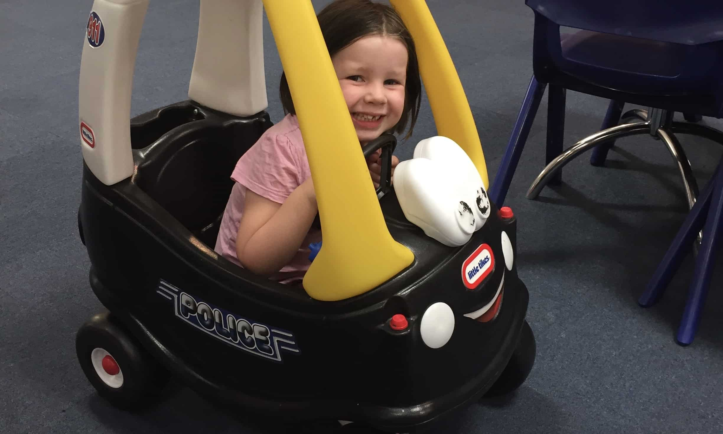 Riding a Cosy Coupe at Mace Playce Chelmsford
