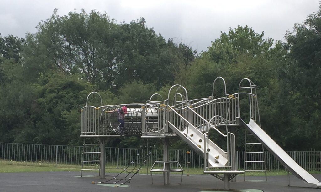 The older children's climbing frame at Admirals Park Chelmsford