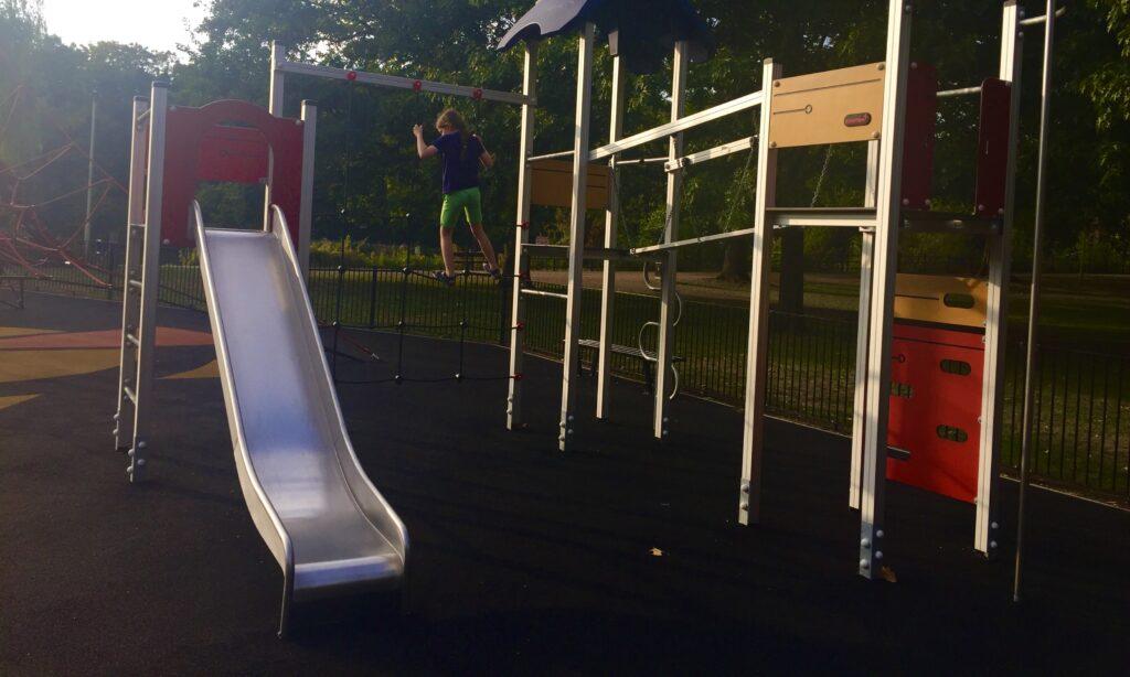 The older children's climbing frame at Central Park