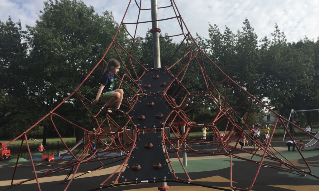 The rope climbing structure at Central Park