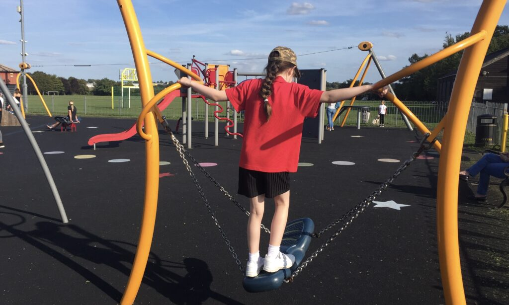 The skateboard swing at Paradise Road Play Area Writtle