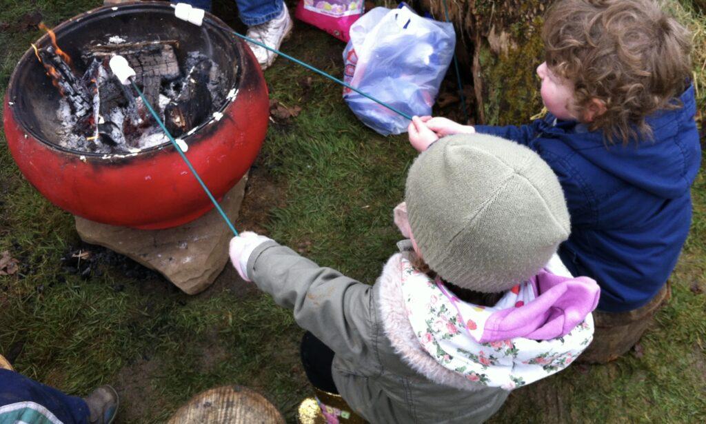 Toasting marshmallows at Natural foundations