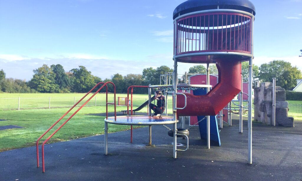 One of the older children's climbing structures at Jubilee Park