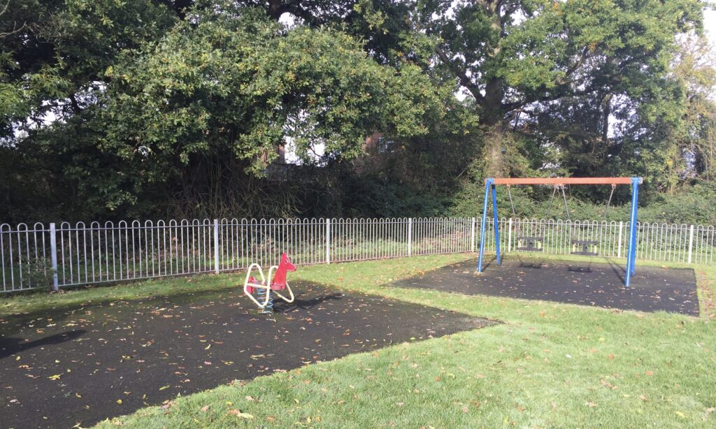 The baby swings at Jubilee Park playground