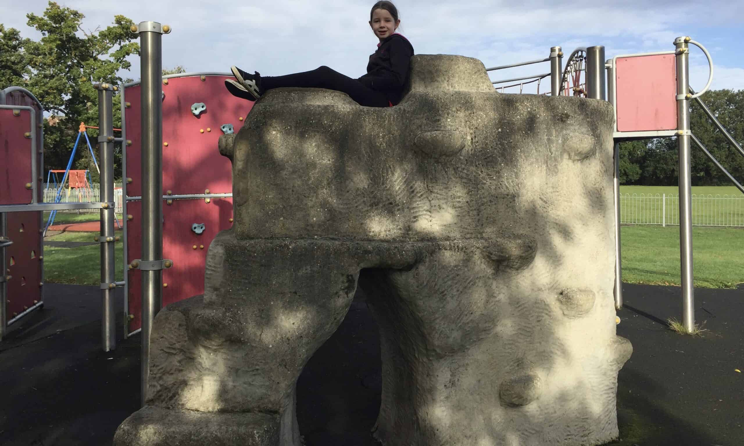 The climbing rock at Jubilee Park Playground