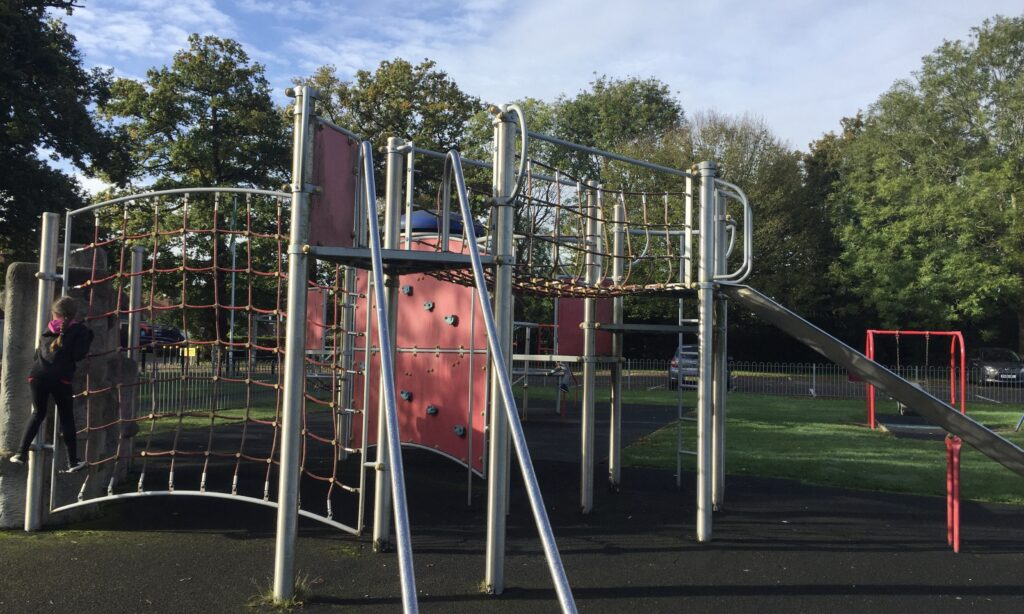 The larger older children's climbing structures at Jubilee Park