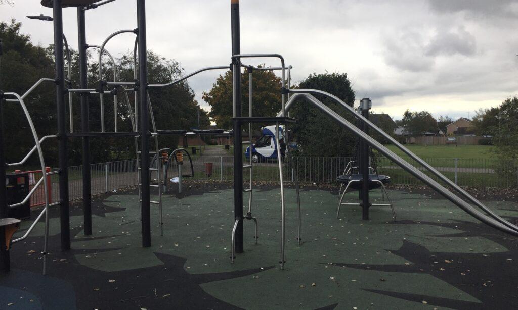 The older children's climbing frame at Chelmer Village Playground