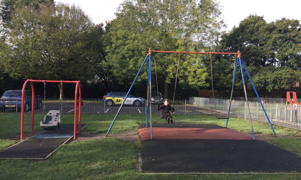 The older children's swings at Jubilee Park Galleywood