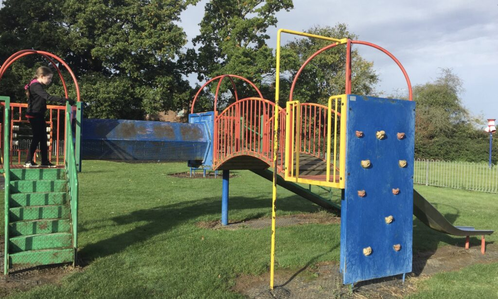 The toddler climbing structure at Jubilee Park Galleywood