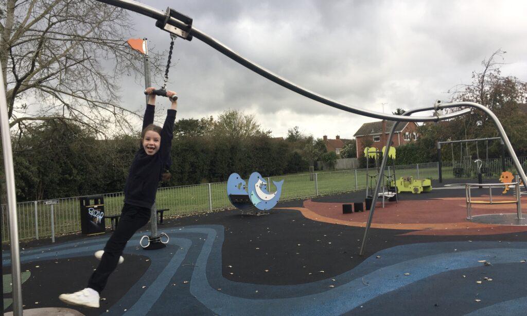 The zip wire at Chelmer Village Green Playground