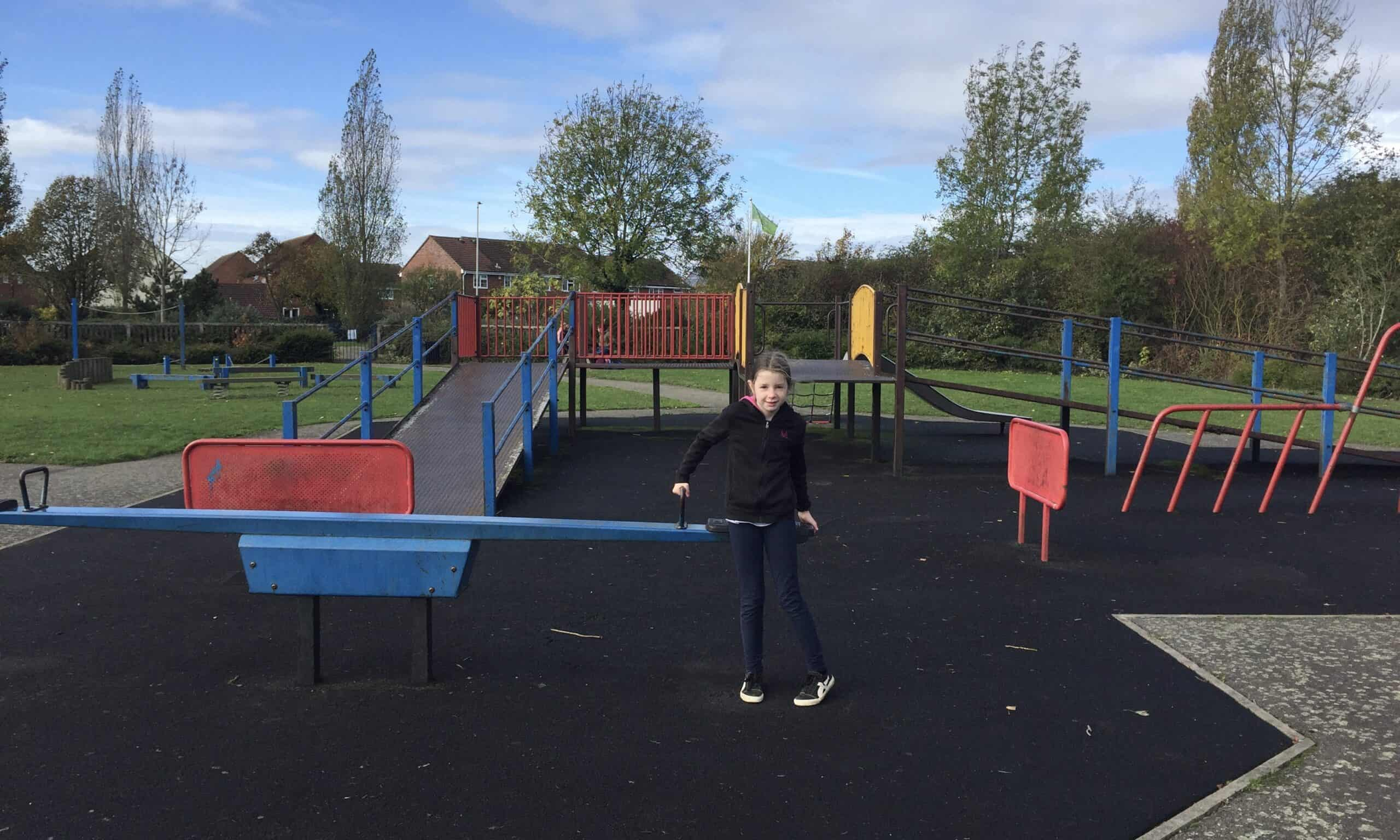 The accessible Play frame And seesaw at Brook End Gardens