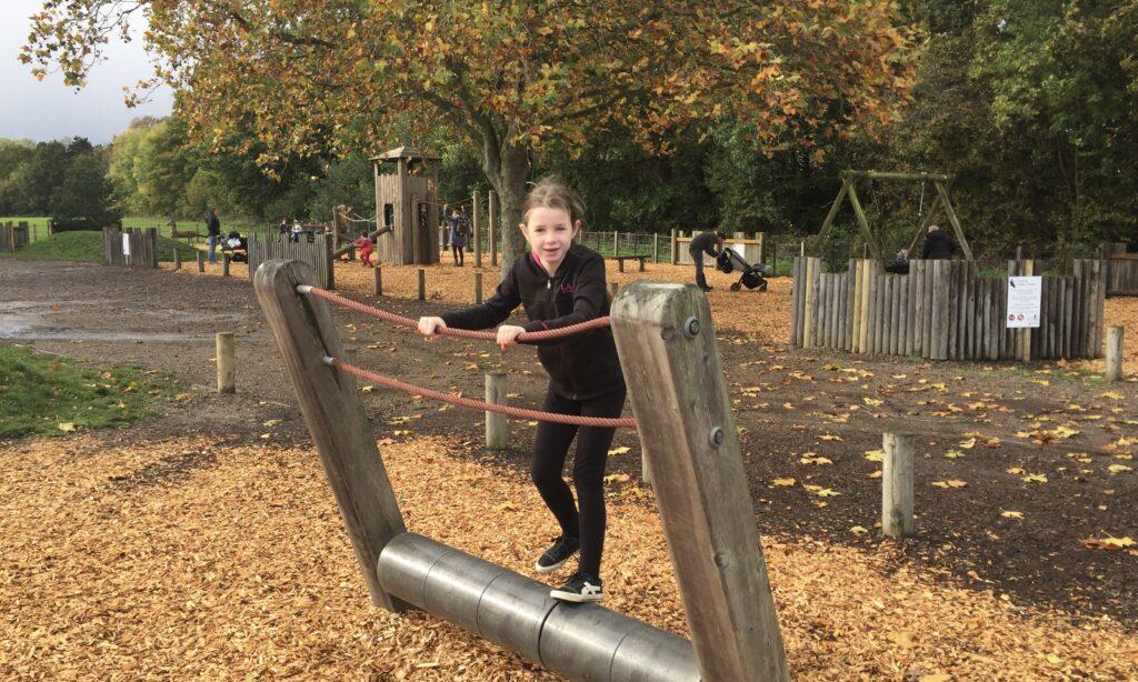 Rolling barrels at Hylands Park playground