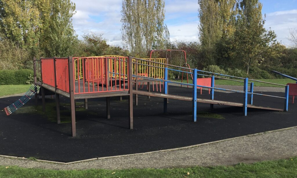 The accessible Play frame at Brook End Gardens