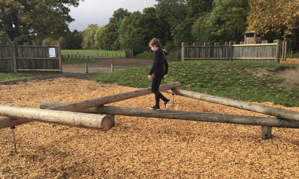The balancing beams at Hylands Park playground