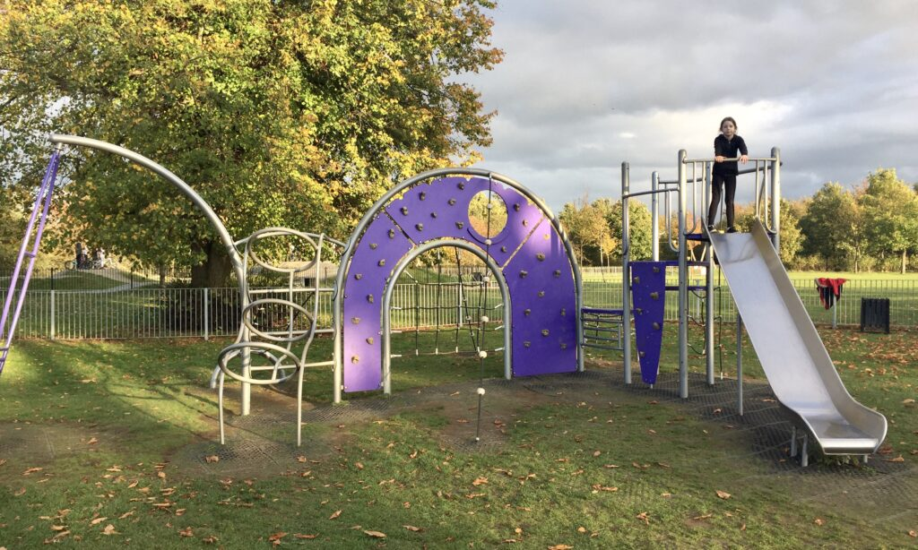 The older children's play frame at Baddow Hall Park