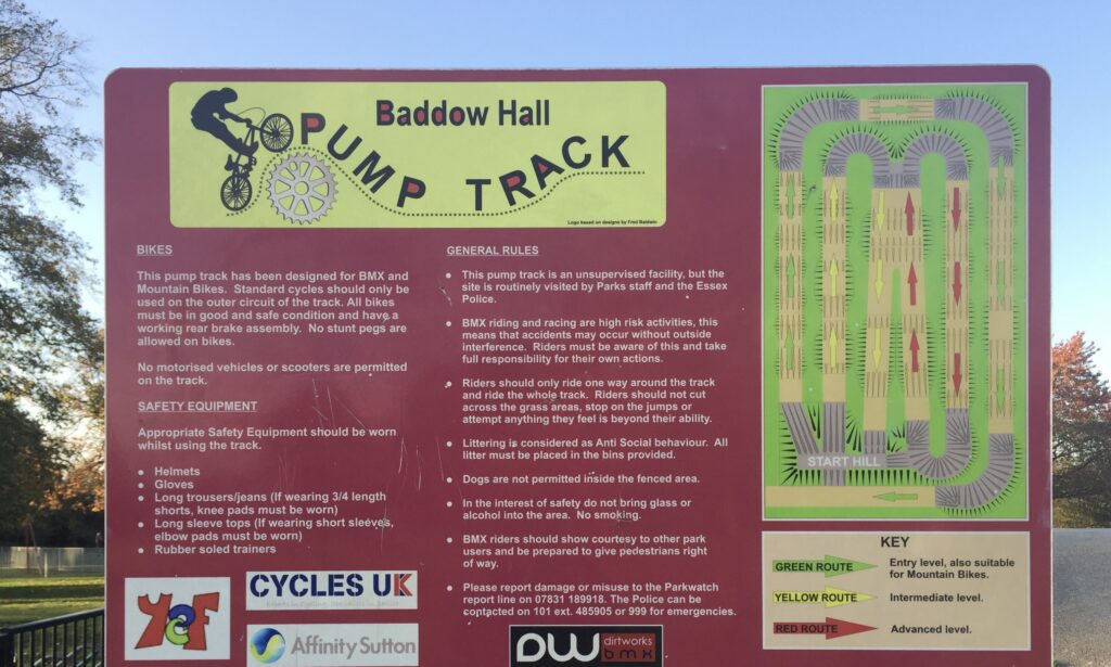 The pump track rules at Baddow Hall Park