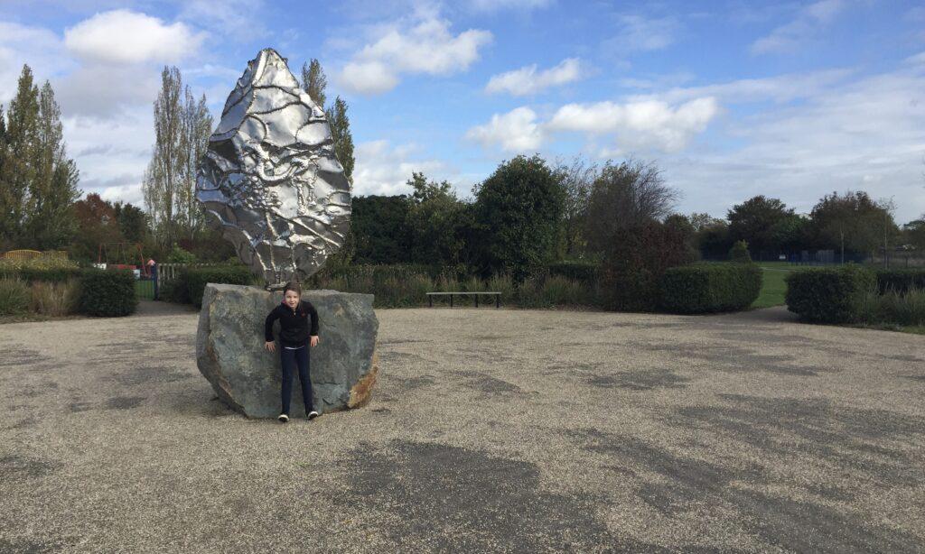 The sculpture at Brook End Gardens