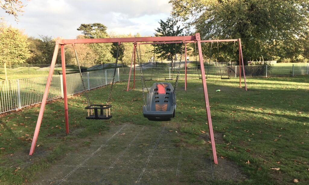 The swings at Baddow Hall Park