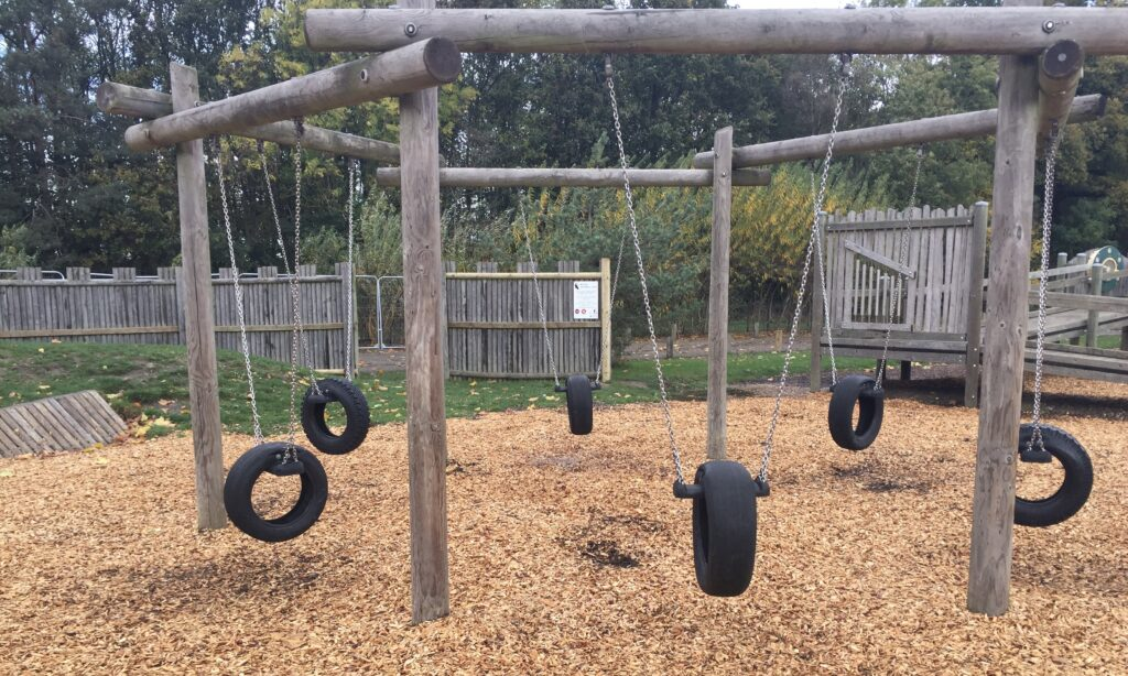 The Tyre Swings at Hylands Park playground