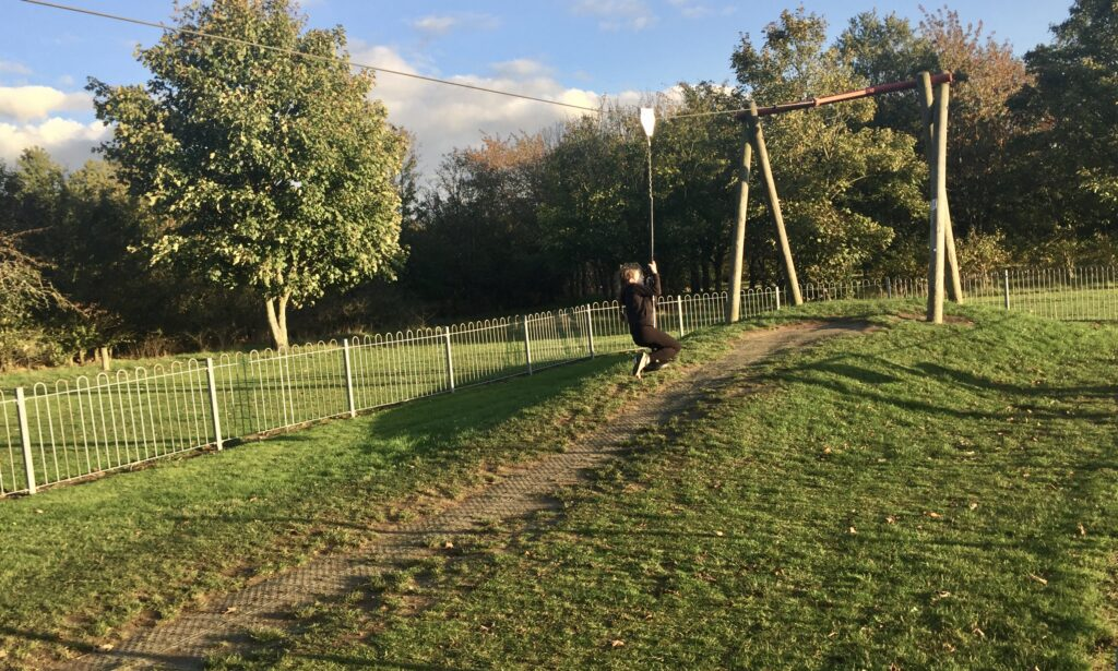 The Zip wire at Baddow Hall Park