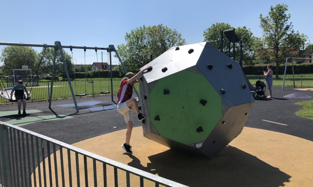 The climbing block and swings