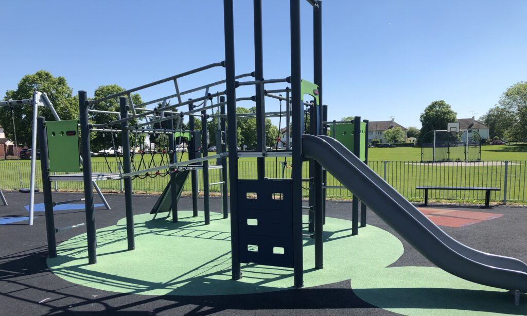 The older children's climbing frame at the Savernake park play area